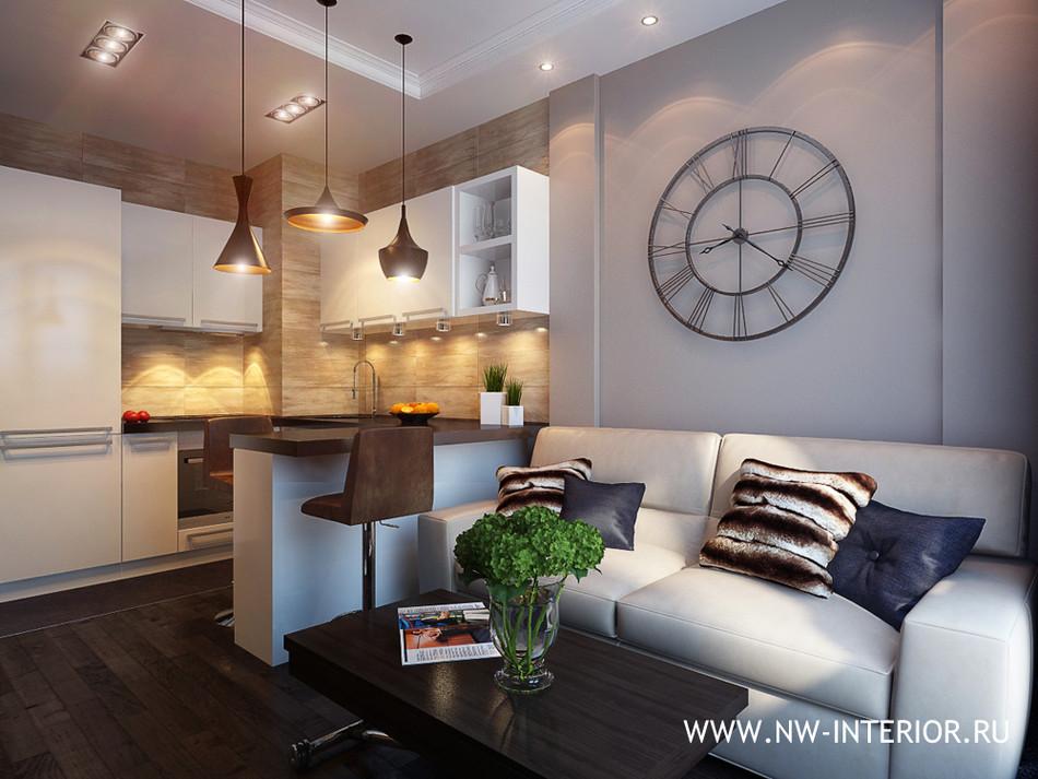 Дизайн кухни-гостиной 25 кв.м фото с зонированием